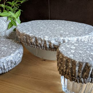 charlottes à plat petites fleurs grises